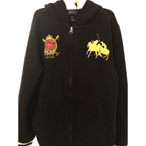Polo by Ralph Lauren black sweater wth gold horses